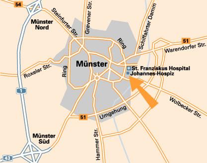 Detailkarte Münster mit Johannes-Hospiz
